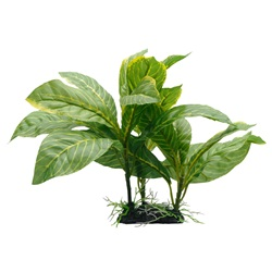 "Fluval Decorative Plants,  Yellow Stripe Spathiphyllum ,22cm (9"") with Base"