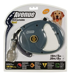 Avenue Dog Retractable Cord Leash, Gray, Large (8m/26ft)
