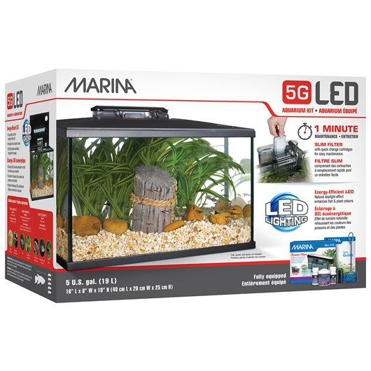 15251 Marina 5g Led Glass Aquarium Kit 19 L 5 Us Gal
